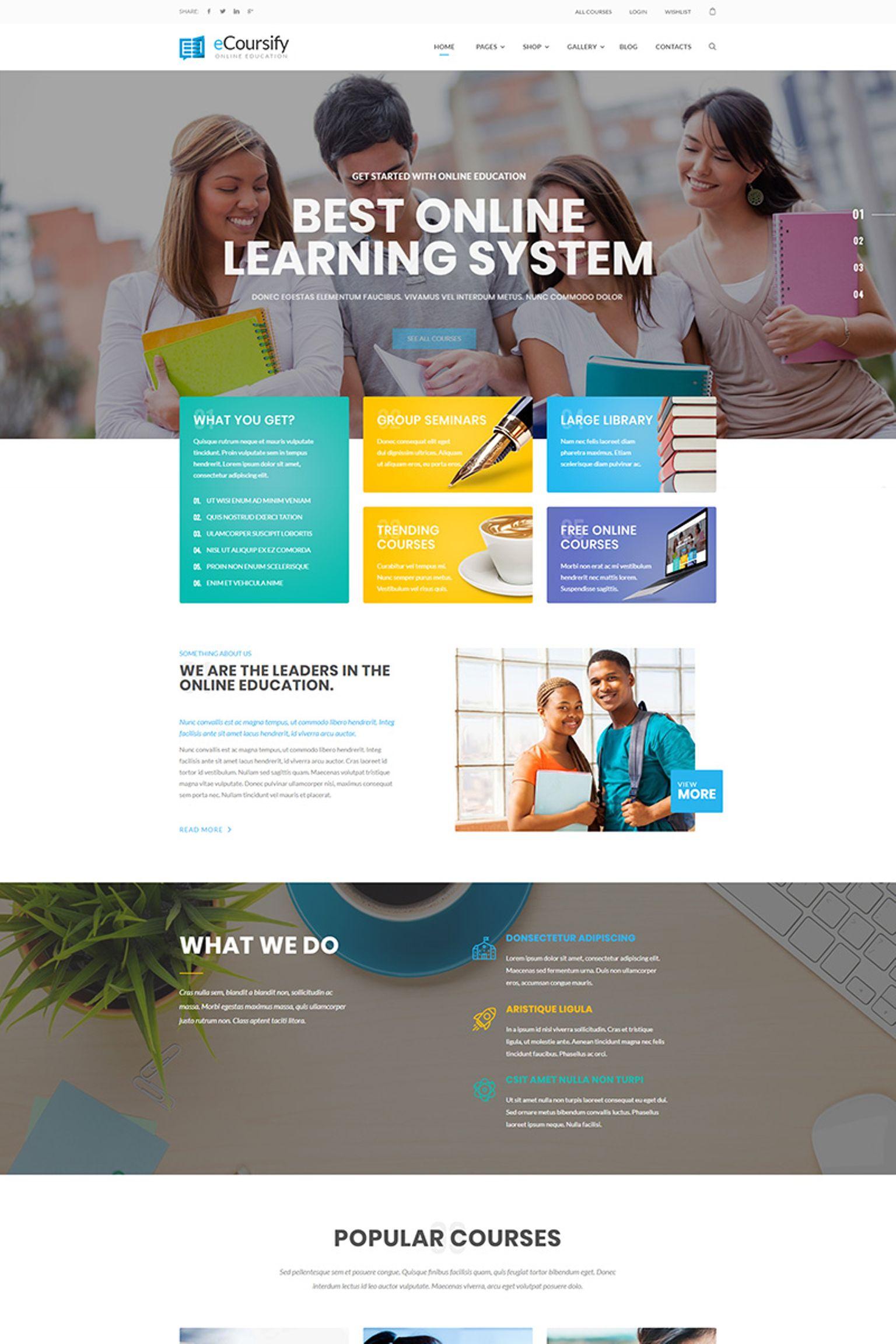 """ECoursify - LMS for Online Courses"" - bootstrap WordPress шаблон №66906 - скріншот"