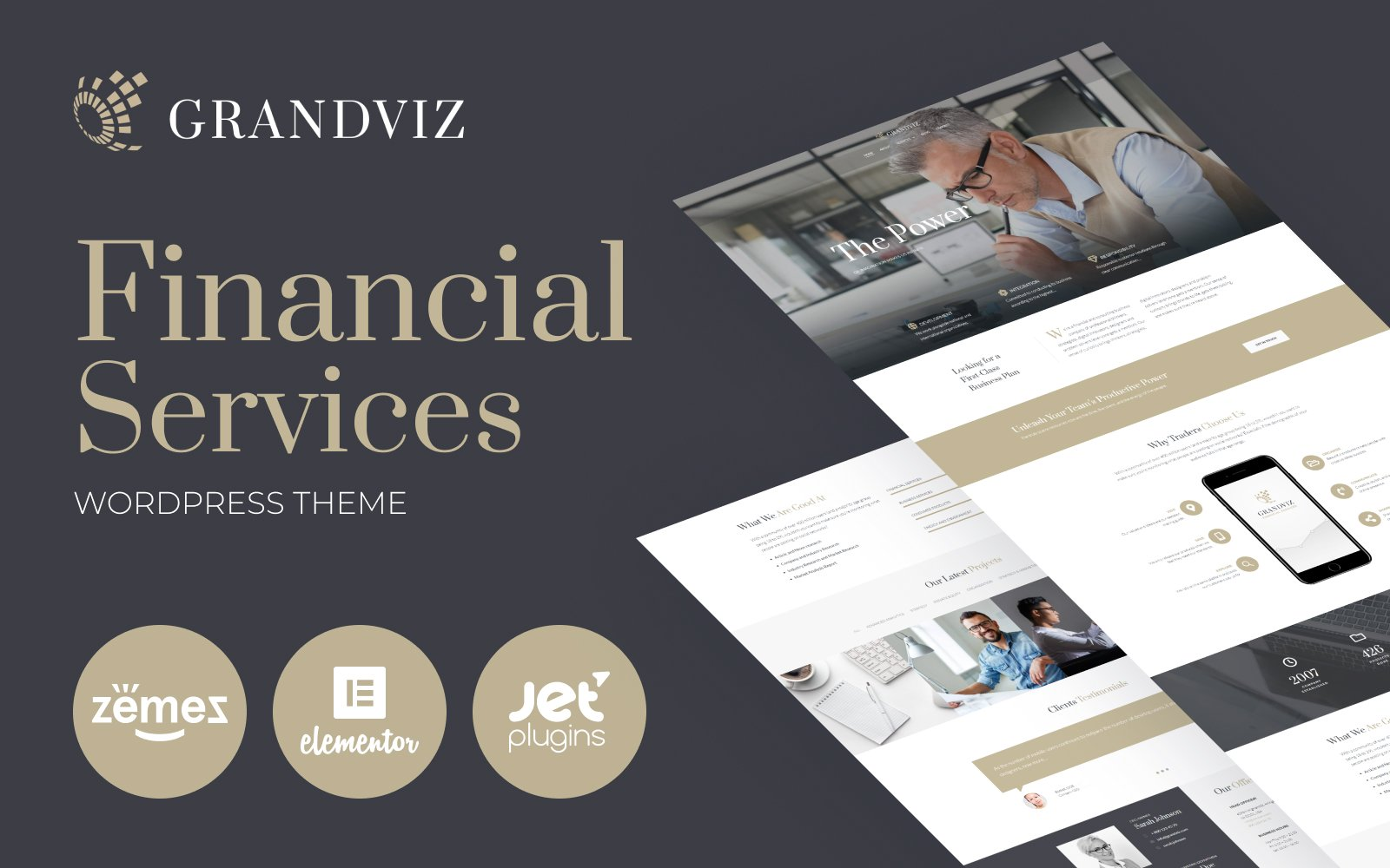 """Grandviz - Financial Company Premium"" Responsive WordPress thema №66990"