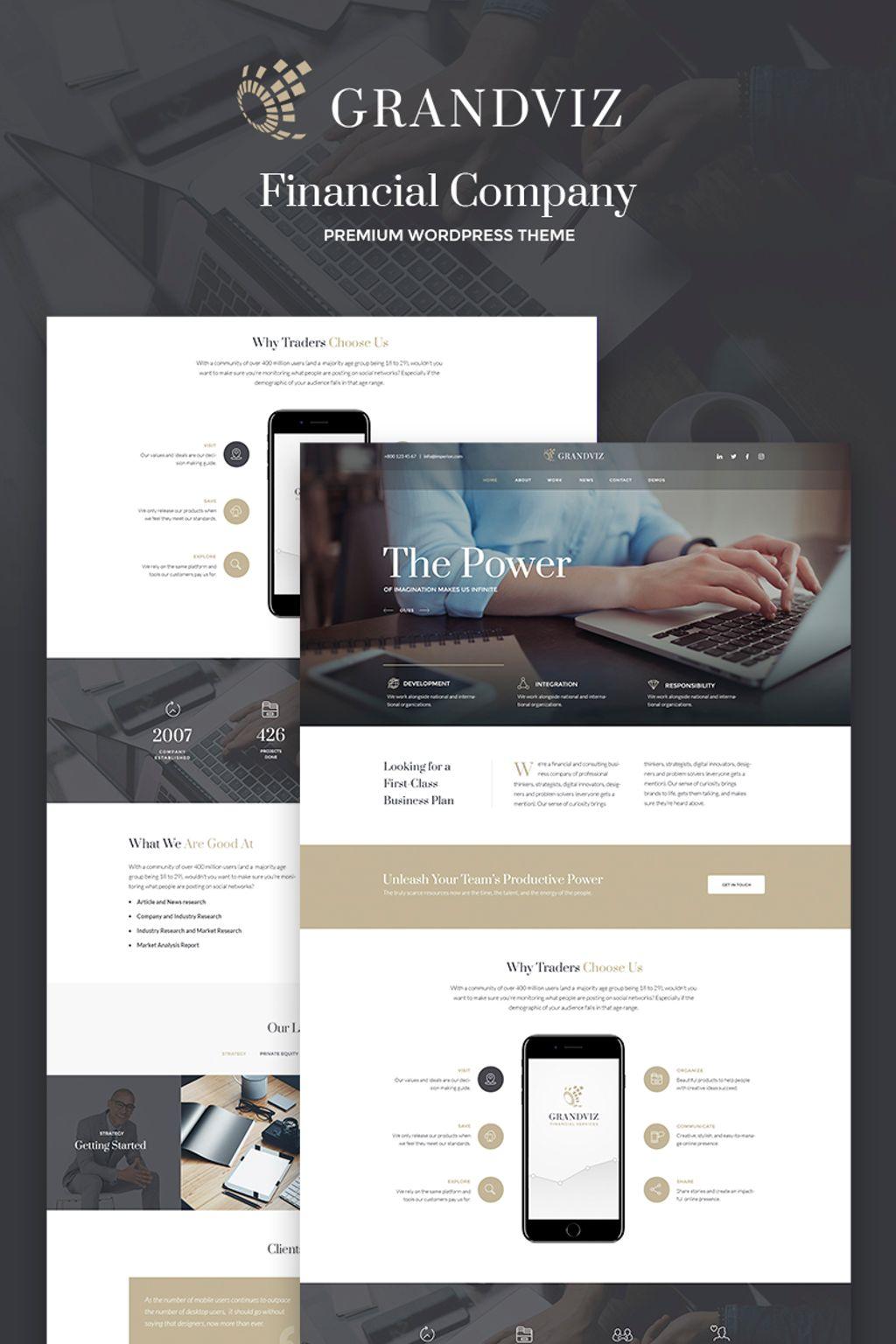 """Grandviz - Financial Company Premium"" Responsive WordPress thema №66990"