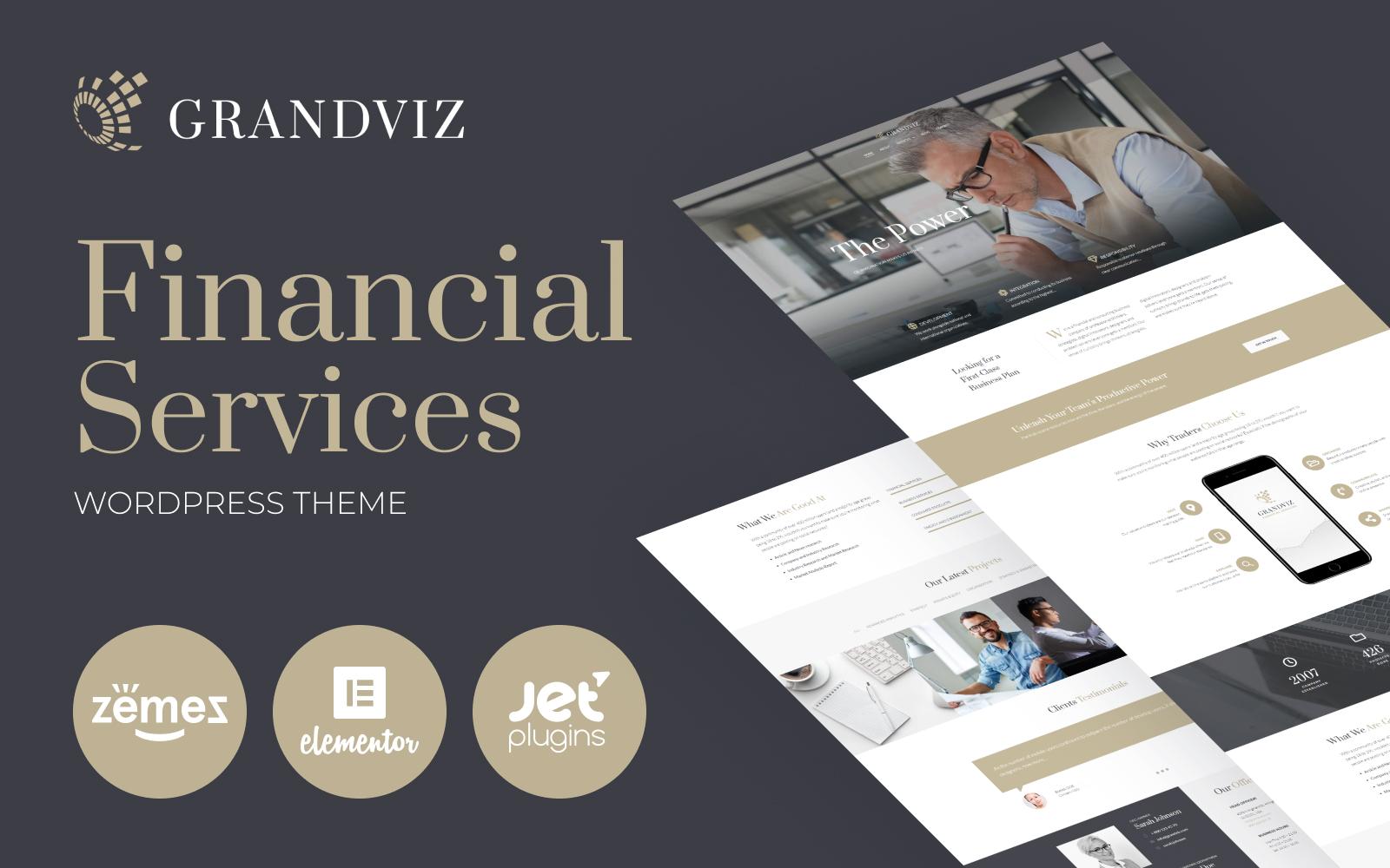 """Grandviz - Financial Company Premium"" 响应式WordPress模板 #66990"