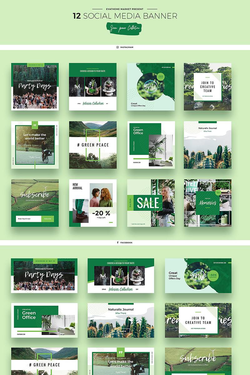 Green Peace Social Media Designs PSD Template Big Screenshot