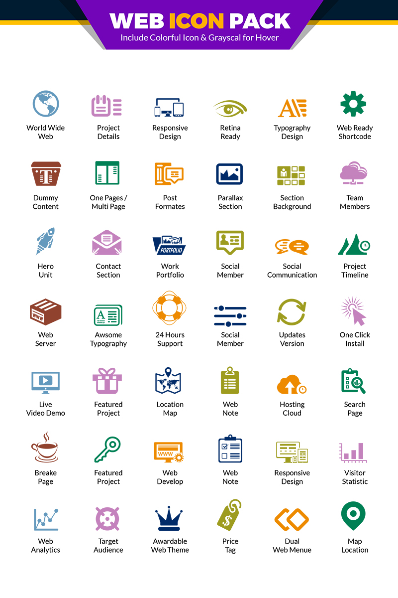 """Iconset šablona """"Web Pack   Website Vector for Web Design and Development Agency or Company   Website Use"""" #66979"""