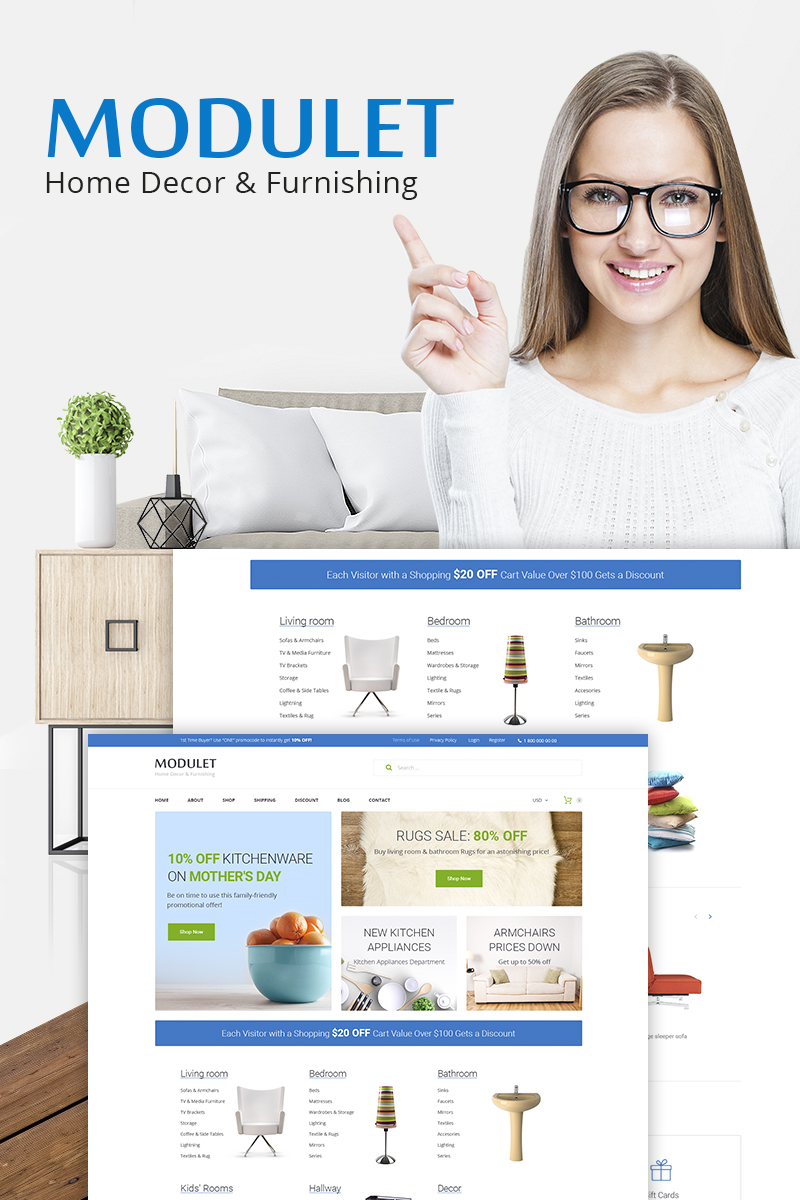 """Modulet Home Decor & Furnishing Template"" 响应式WooCommerce模板 #66974"