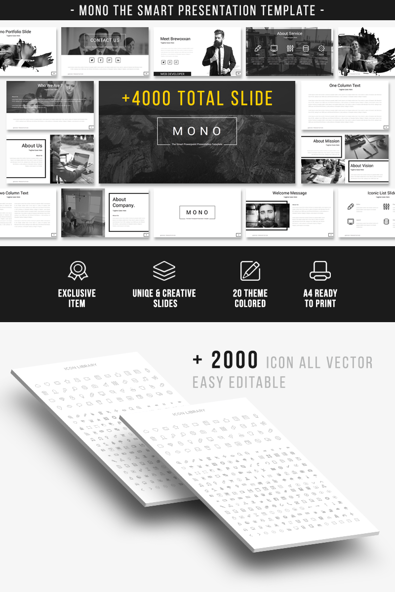 """""""Mono - The Smart Presentation"""" Bootstrap PowerPoint Template №66985"""