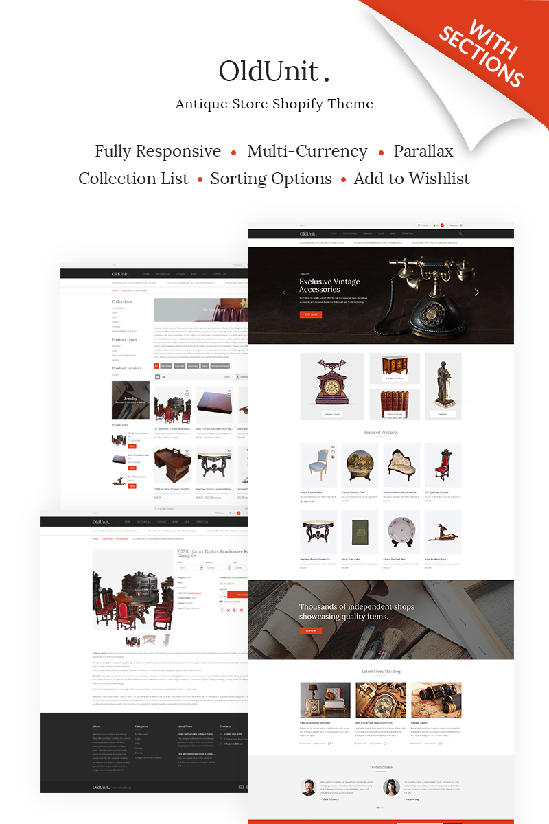 OldUnit. - Antique Store Shopify Theme - screenshot