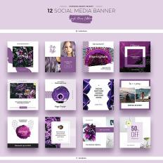 Purple Flowers Social Media Designs