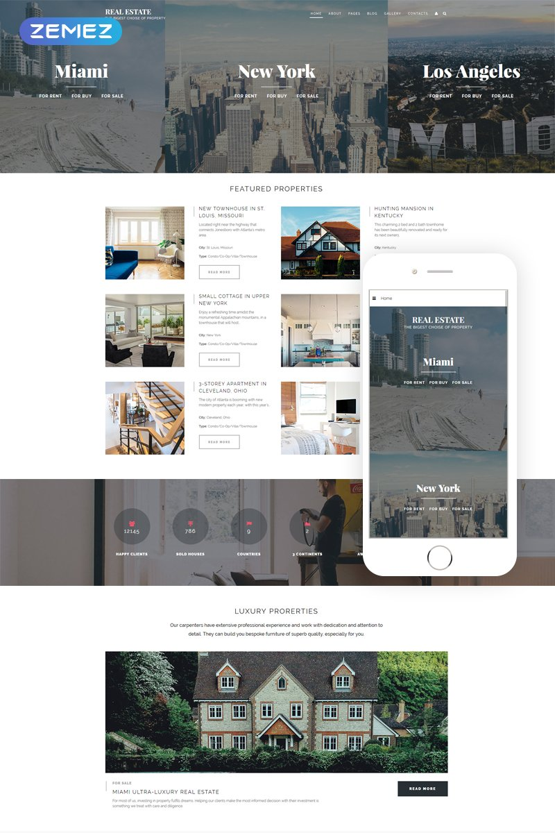 Real Estate - Renting Agency Responsive Joomla Template