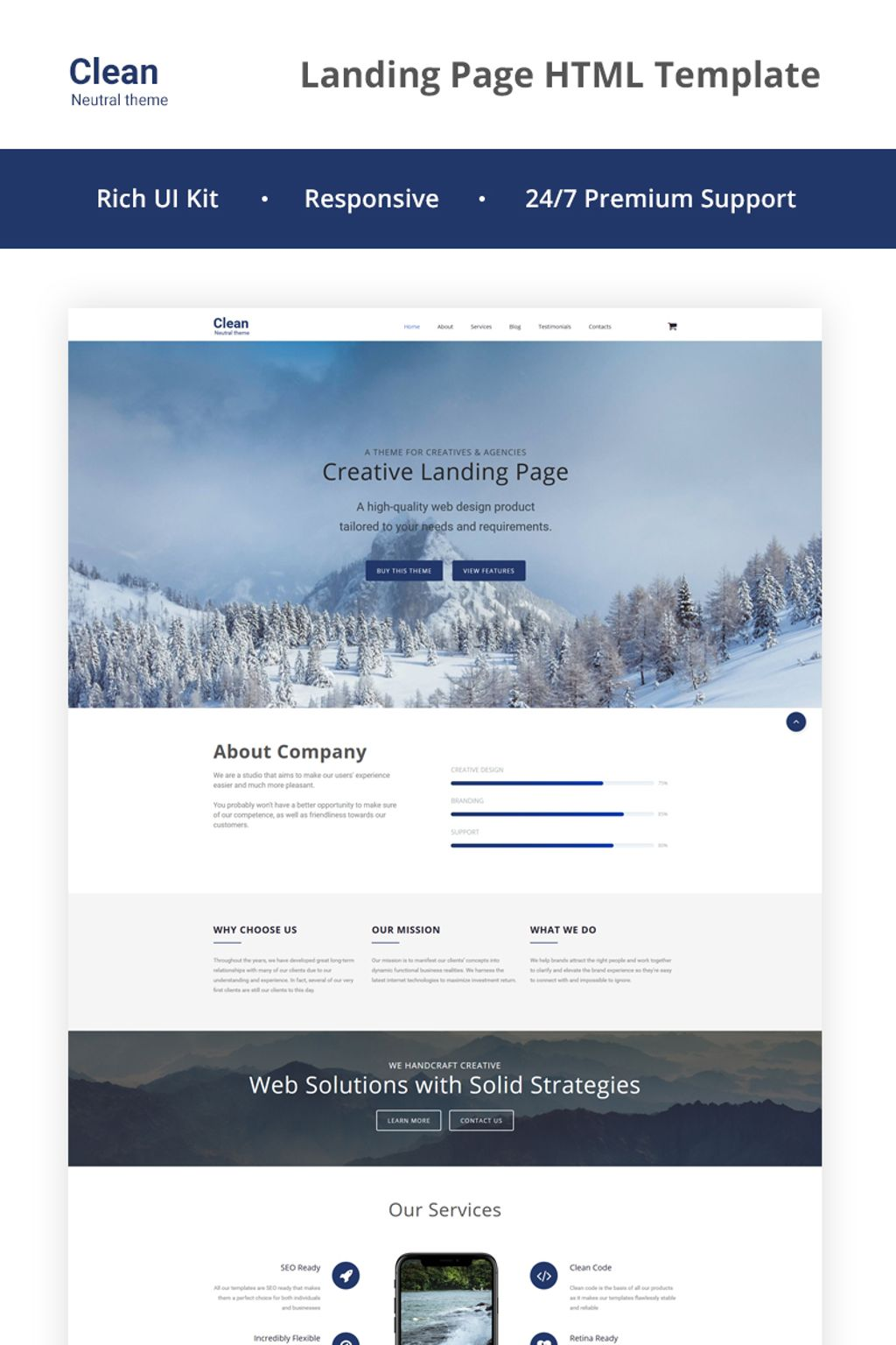 Responsivt Clean - Neutral HTML5 Landing Page-mall #66951