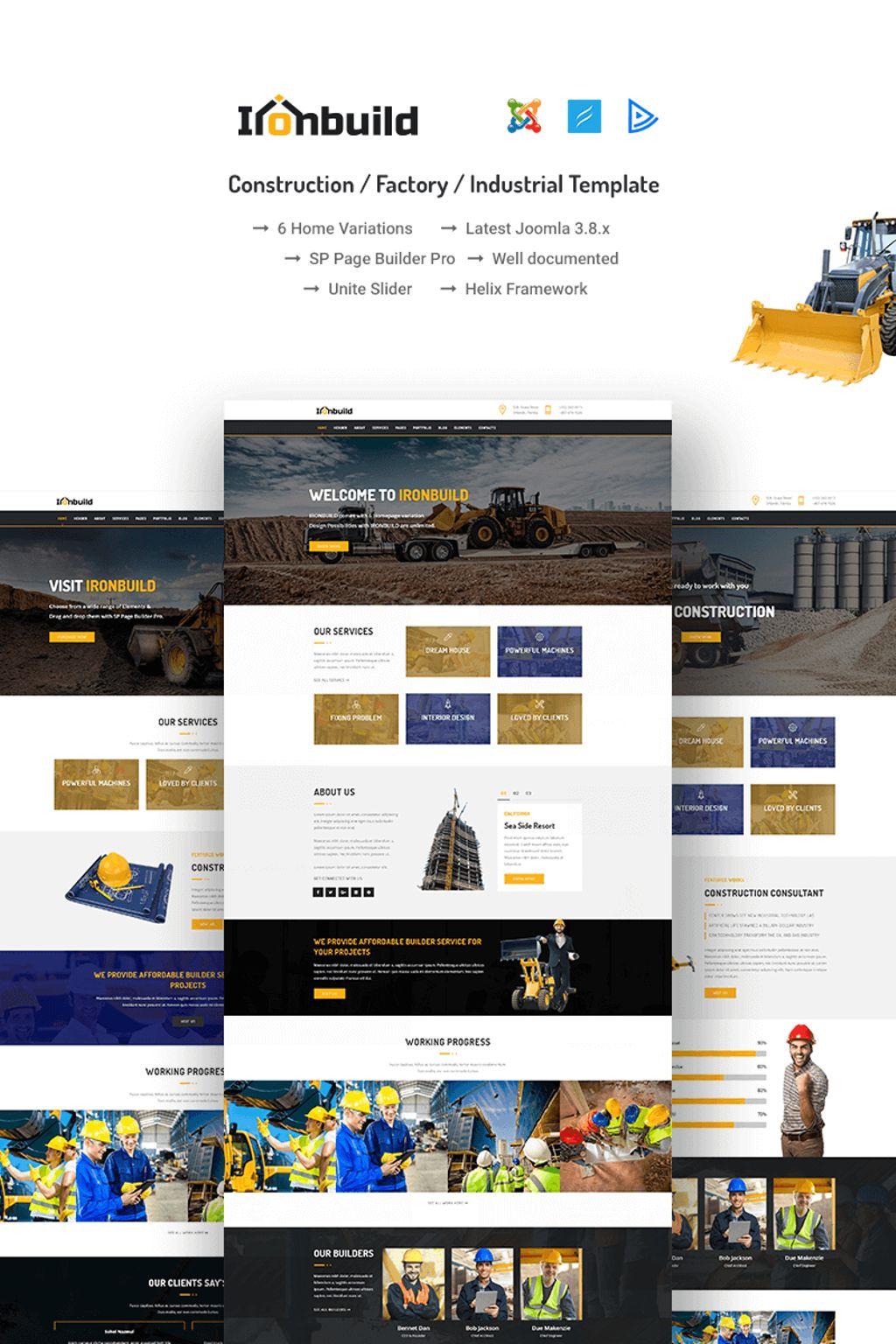 "Responzivní Joomla šablona ""Ironbuild - Construction / Factory / Industrial"" #66982"