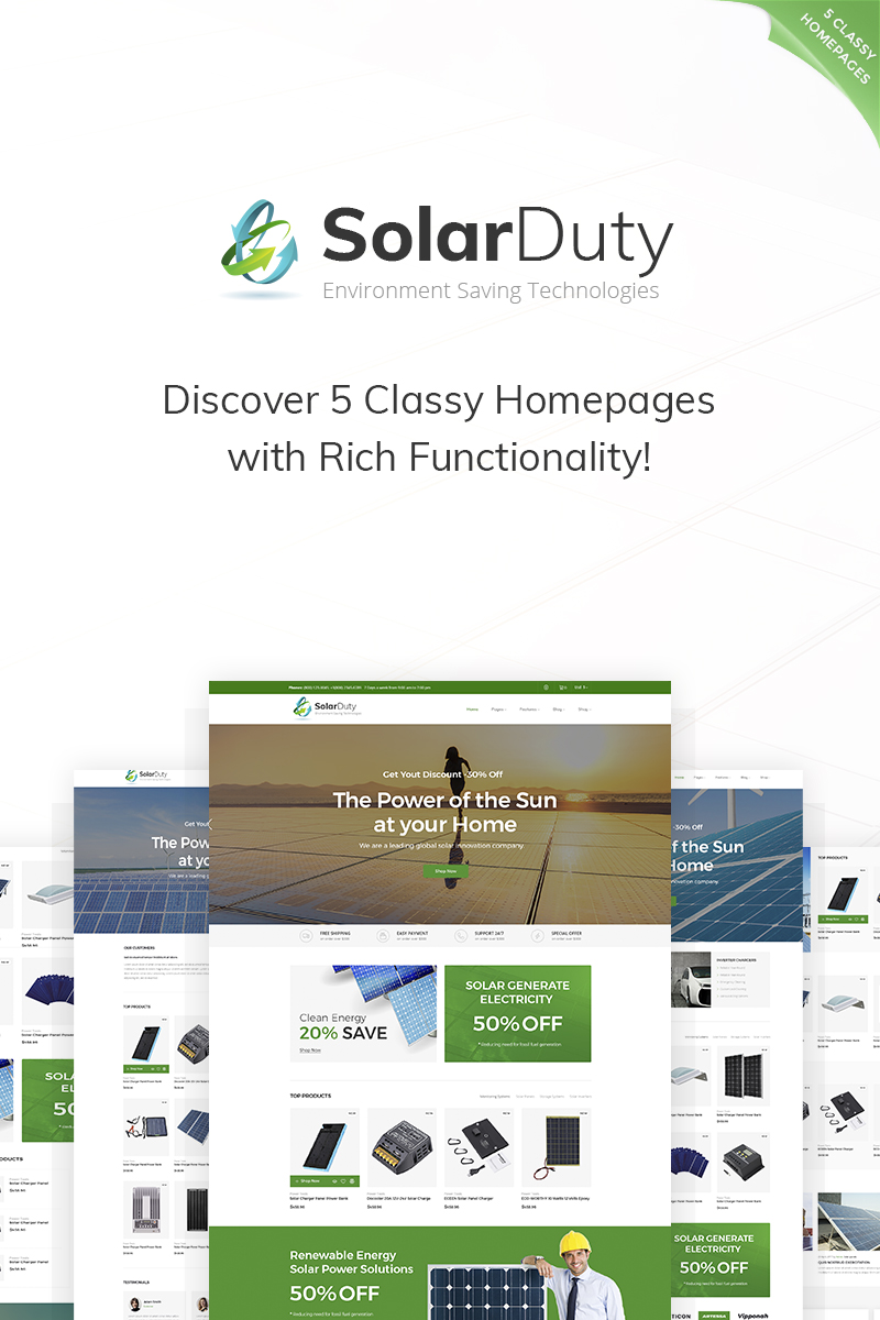 """SolarDuty - Environment Saving Technologies Responsive"" Responsive WooCommerce Thema №66925 - screenshot"