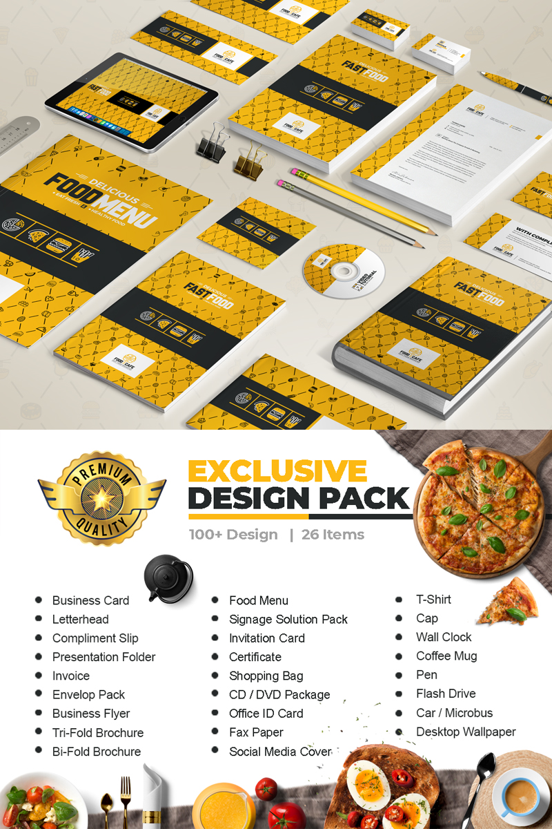 """Stationery Mega Branding Identity Design For Fast Food Agency or Company"" 企业设计模板 #66977"