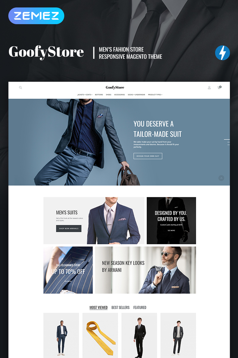 "Tema Magento ""GloStore - AMP Men's Fashion"" #66904 - captura de pantalla"