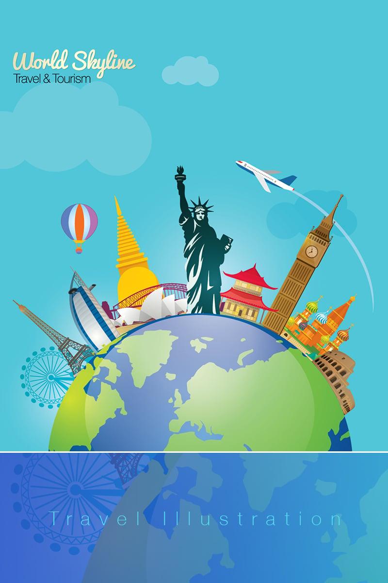 World Skyline Travel & Tourism With Globe Illustration