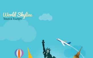 World Skyline Travel & Tourism With Globe - Illustration