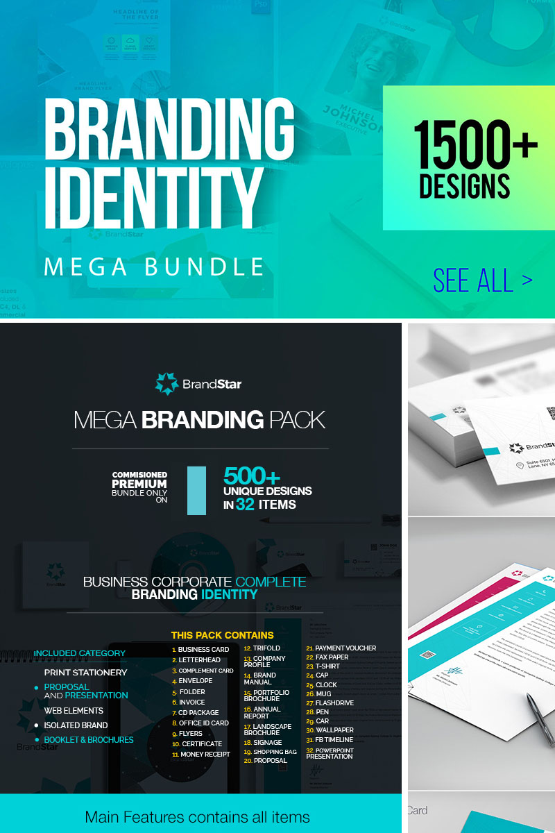 """Corporate Branding Identity OneStop Mega"" - Шаблон фірмового стилю №67025"