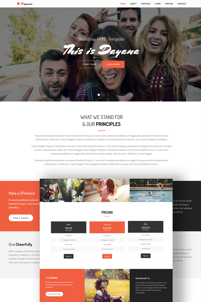 Dayana - Responsive Landing Page Template