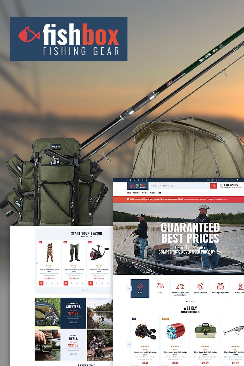 """""""FishBox - Fishing Supplies"""" WooCommerce Thema №67005"""
