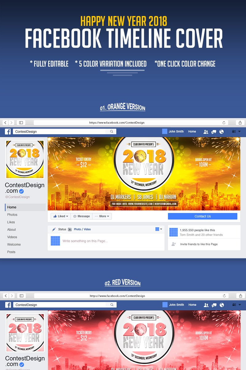 2018 Happy New Year Facebook Timeline Cover Design Tema Midia Social