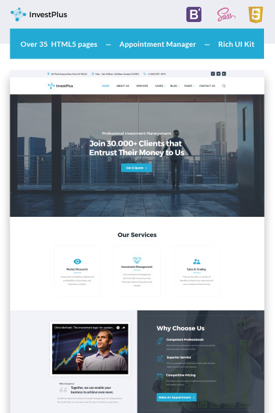 Invest Plus - Investment Company HTML5 Website Template #67002