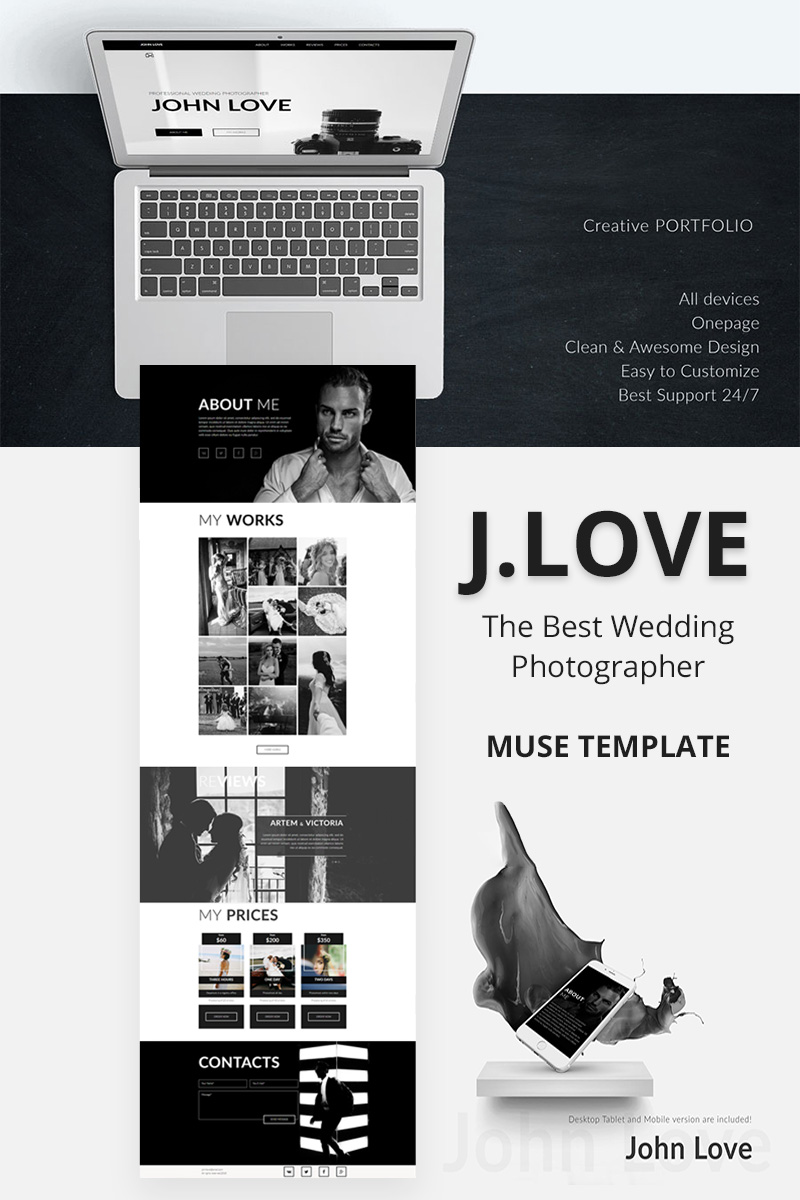 """JOHN LOVE - Creative Portfolio"" Muse 模板 #67059"