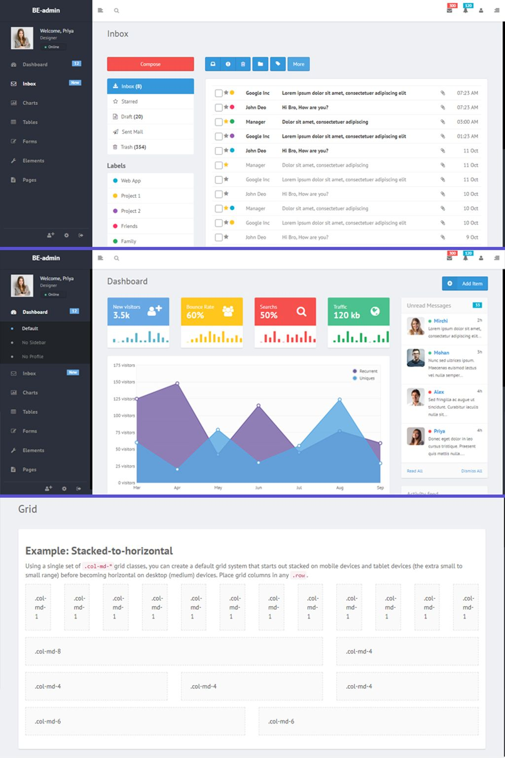 "Modello Admin #67067 ""Be admin - Bootstrap"" - screenshot"