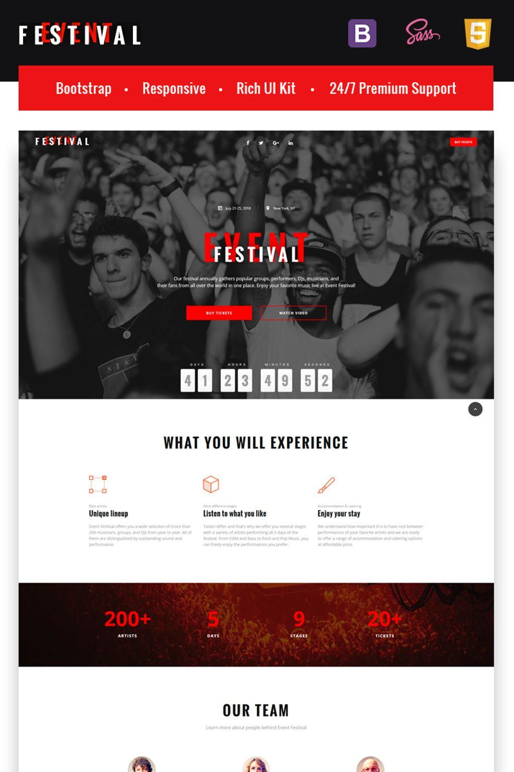 "Modello di Landing Page Responsive #67040 ""Festival Event - Responsive HTML5"""