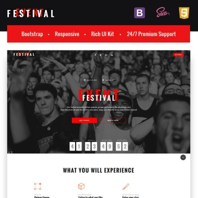 Tickets Website Responsive Template Di Landing Page