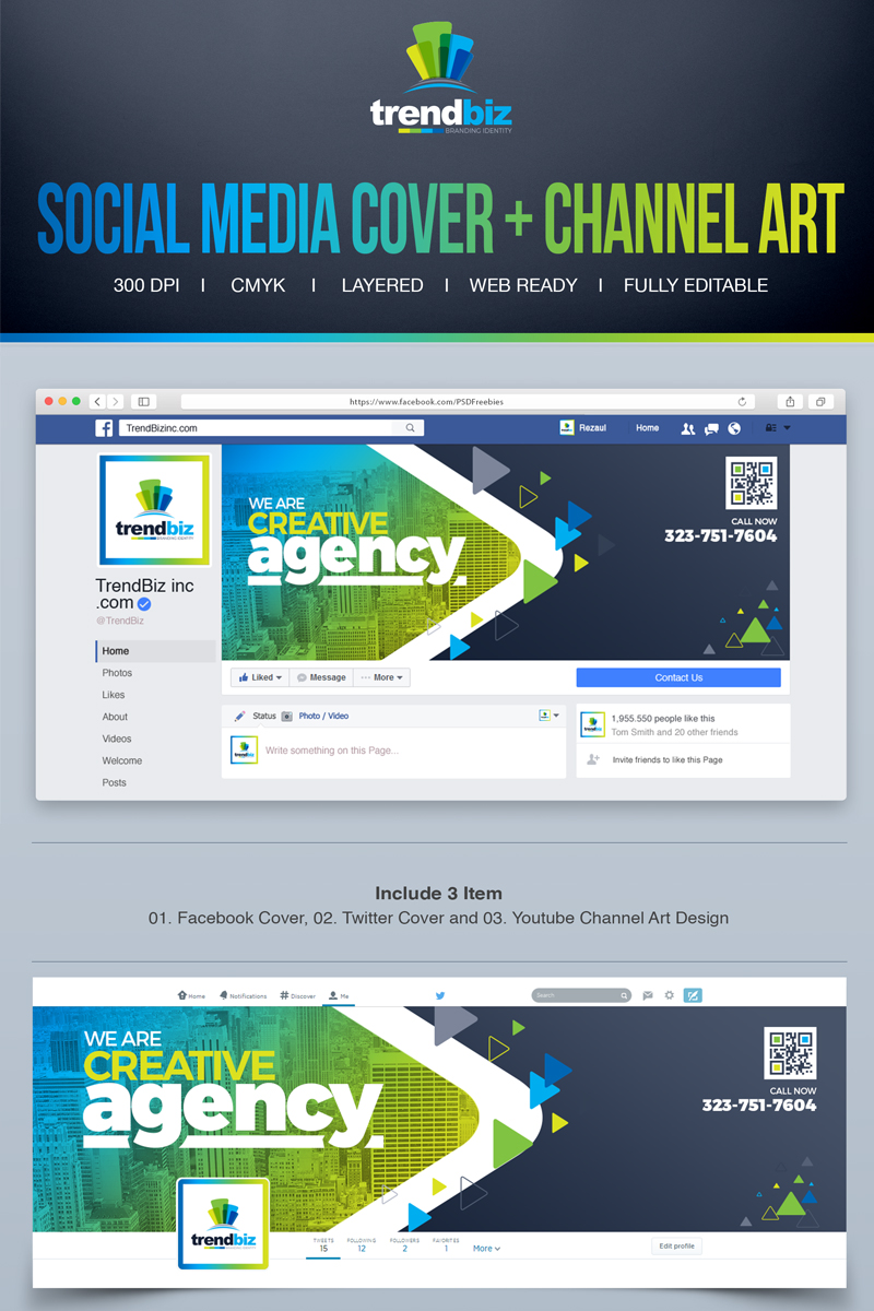 "Modello Social Media #67037 ""Social Media Cover for Corporate Business : Facebook Timeline Cover, Twitter Cover, YouTube Channel Art"""
