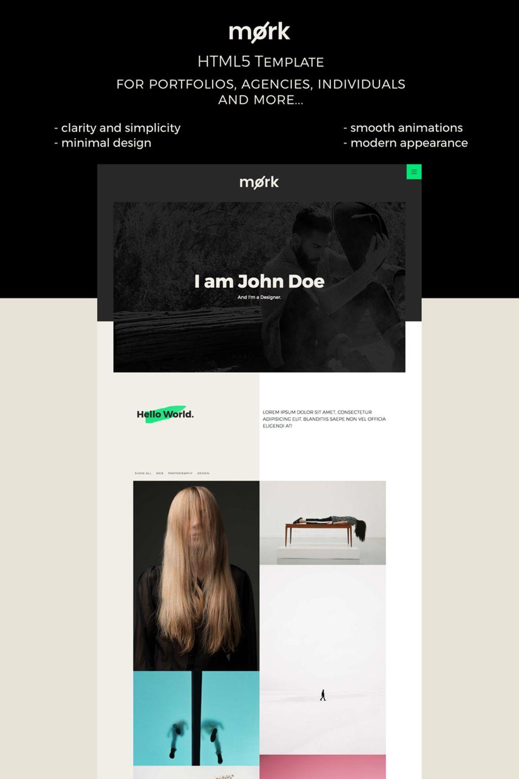 Mork - Minimal HTML5 Website Template - screenshot