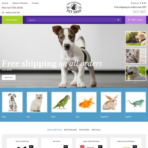 Pet Shop - Responsive - OpenCart Template based on Bootstrap