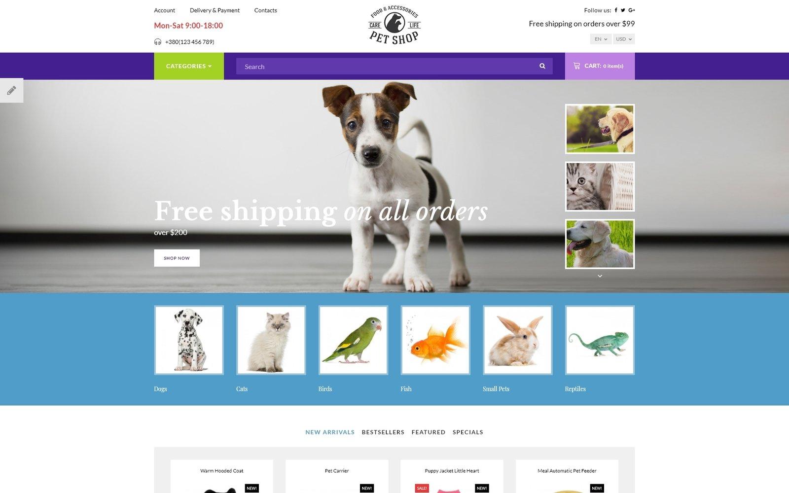 """""""Pet Shop - Responsive"""" thème OpenCart adaptatif #67038"""