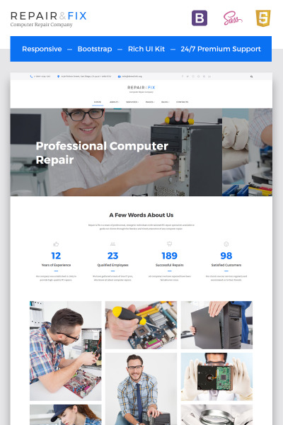 Computer Repair Company Multipage HTML5 Template