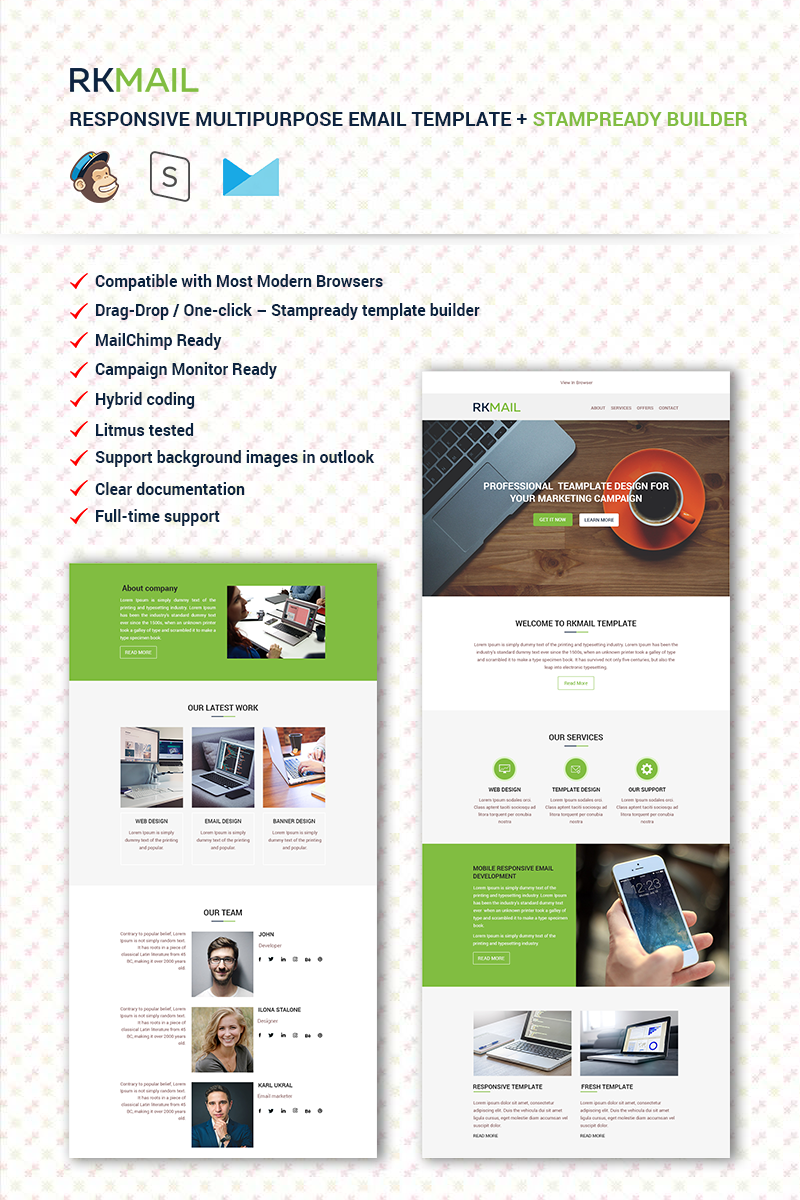 """RKMail - Responsive Multipurpose + Stampready Builder"" Responsive Nieuwsbrief Template №67072"