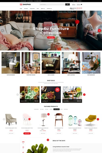 Shop4U - Furniture Responsive Magento Theme #67011