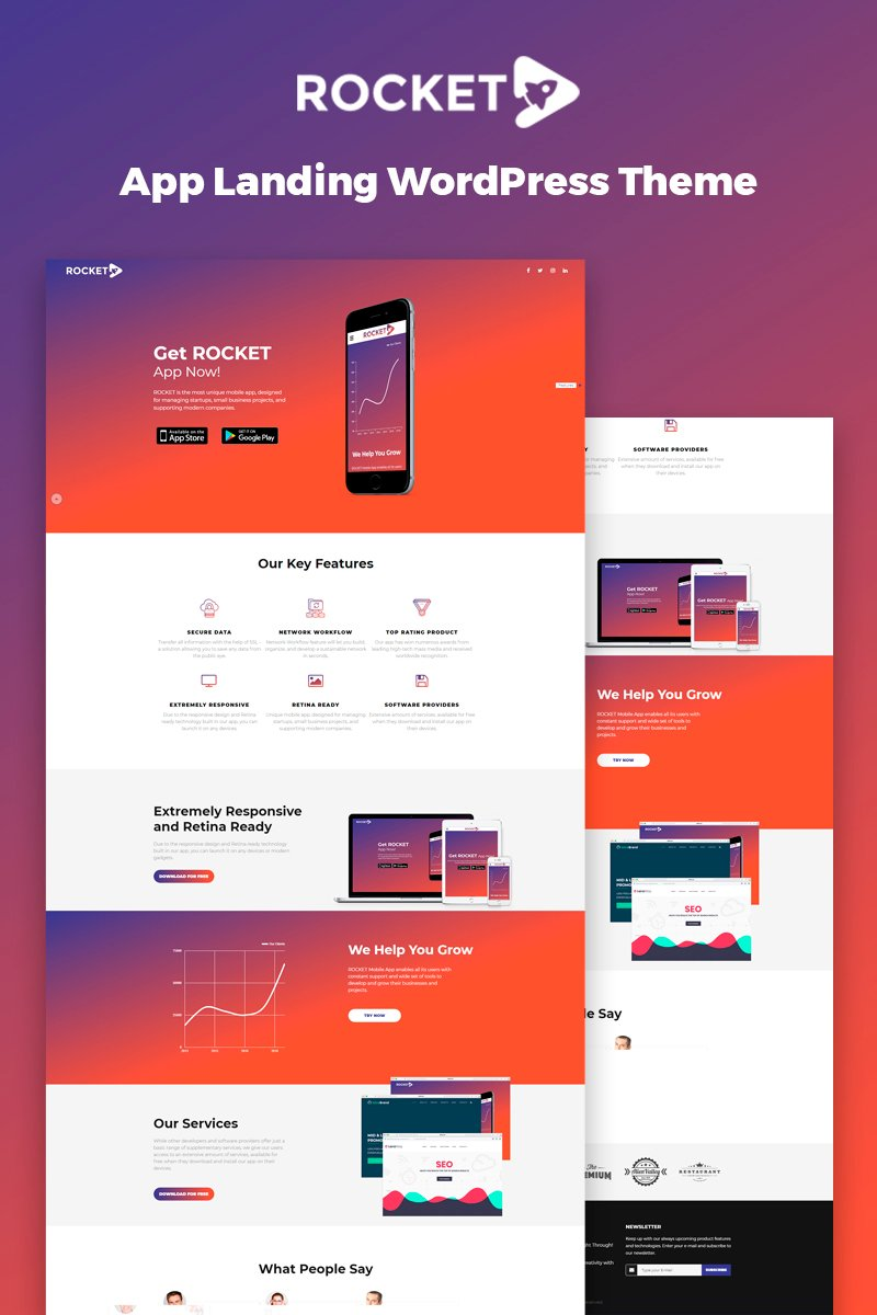 "Tema De WordPress ""Rocket - Mobile App Landing Page"" #67077"