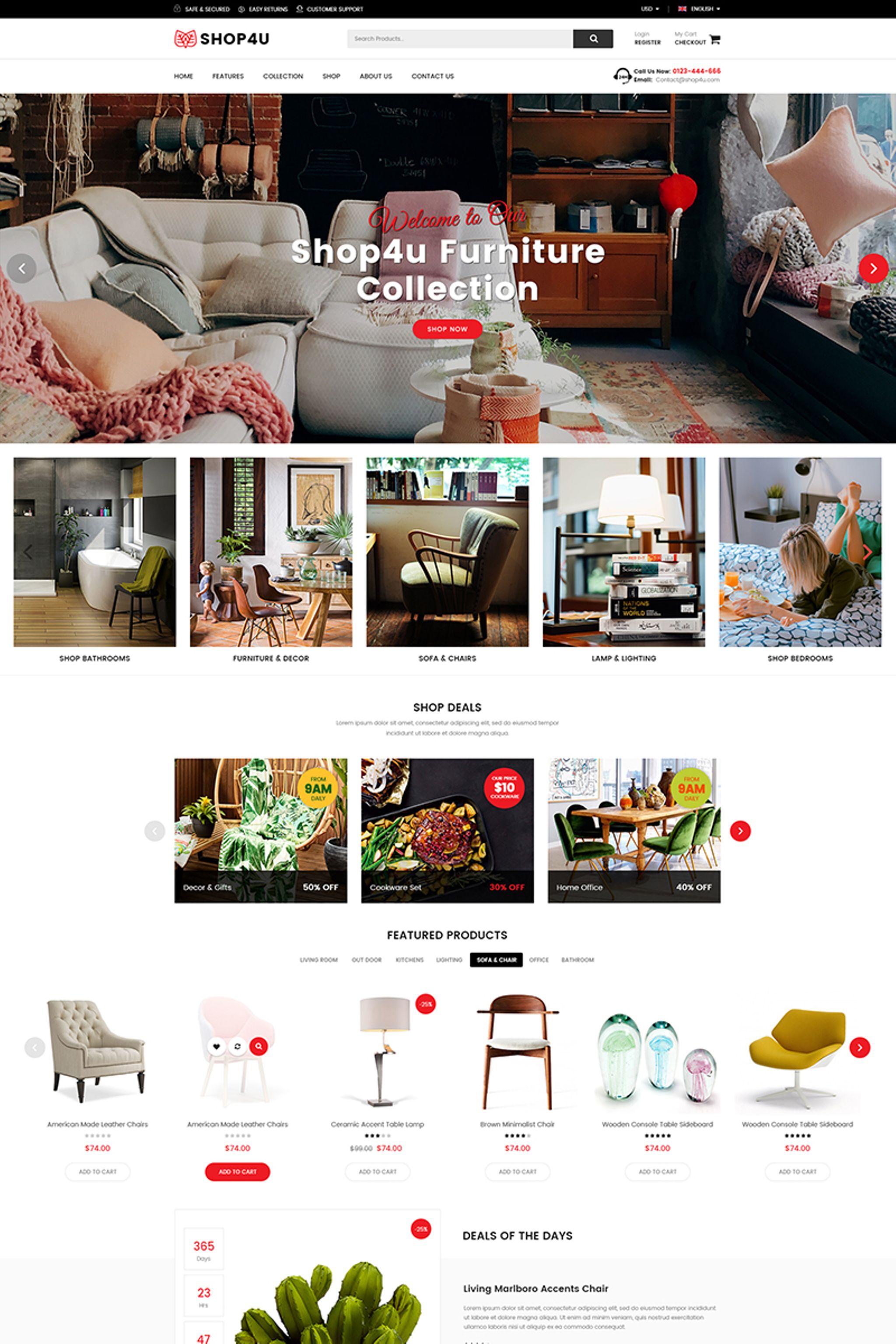 "Tema Magento Responsive #67011 ""Shop4U - Furniture Responsive"" - screenshot"