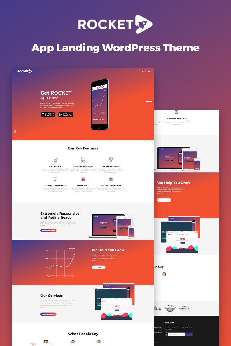 "Tema WordPress Responsive #67077 ""Rocket - Mobile App Landing Page"""