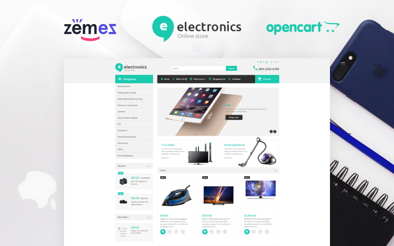 "Template OpenCart Responsive #67042 ""Electromo - Electronics Online Shop"""