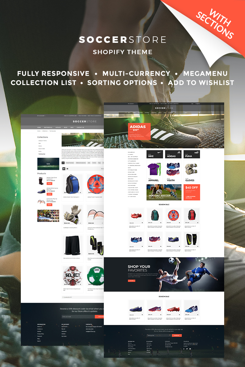 """Template Shopify Responsive #67039 """"Soccer Store"""""""