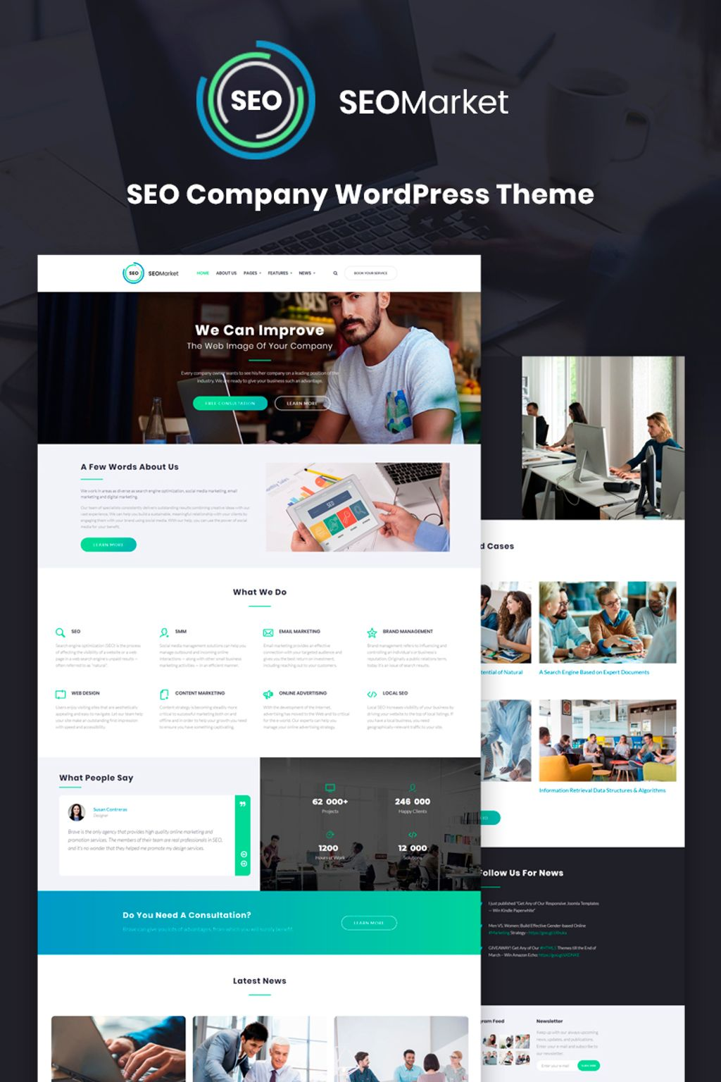"Template WordPress Responsive #67045 ""SEOMarket - SEO Website"""