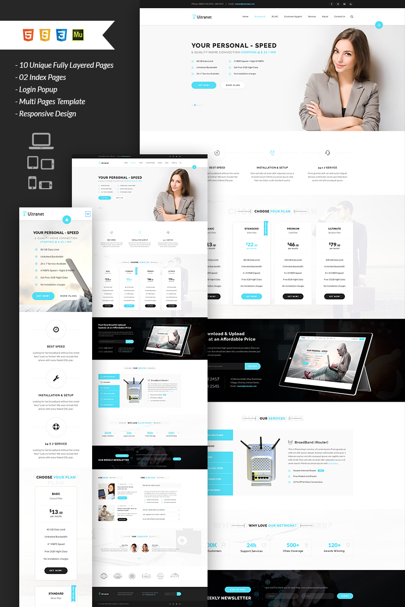 Ultranet Internet Provider and Digital Network Template Muse №67075