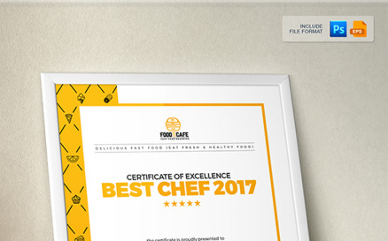Certificate Design Template for Best Chef Fast Food and Restaurant Certificate Template