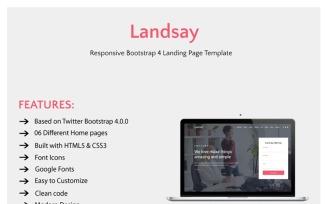 Landsay - Responsive Bootstrap 4