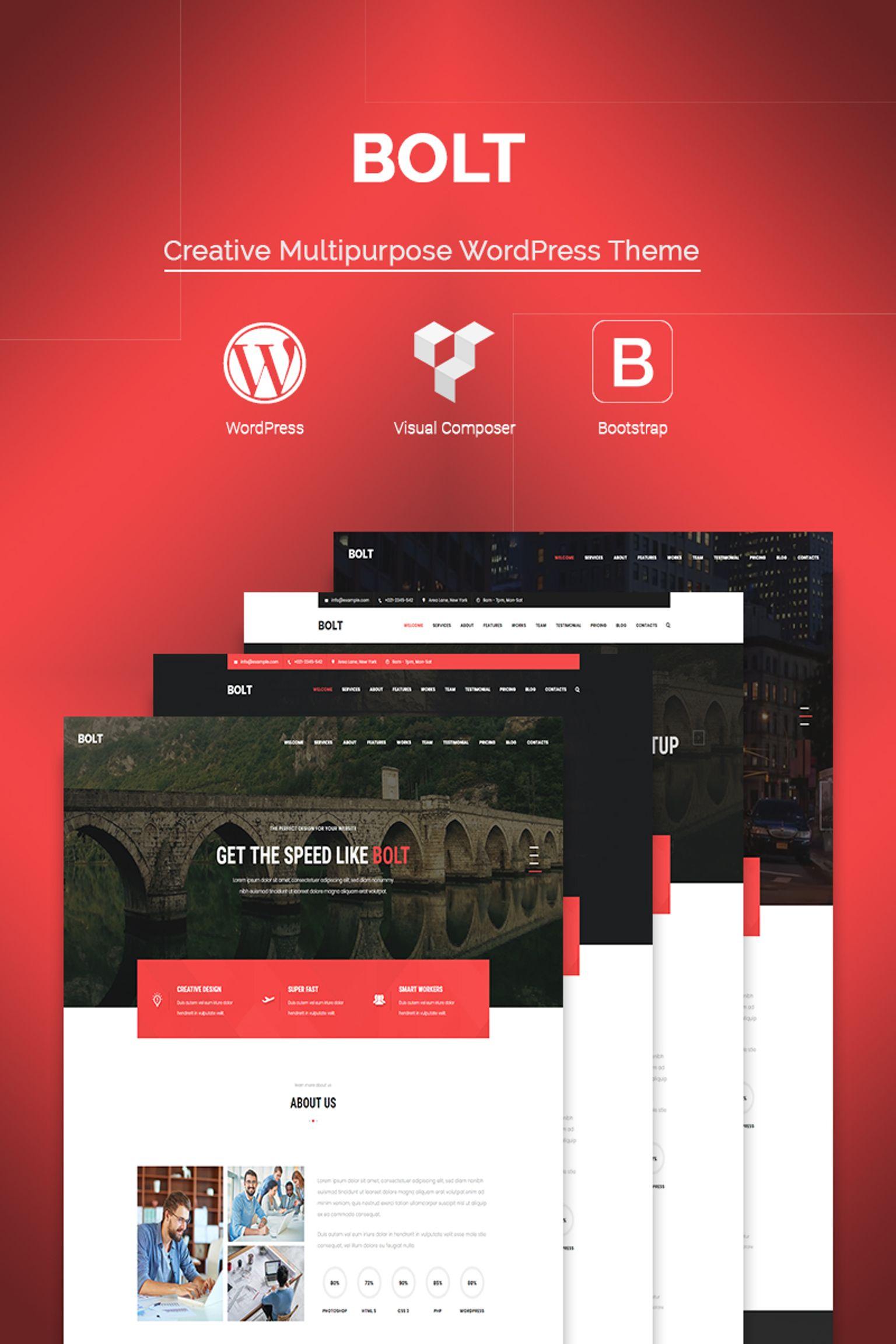 """Bolt - Creative One page Portfolio"" WordPress模板 #67176"