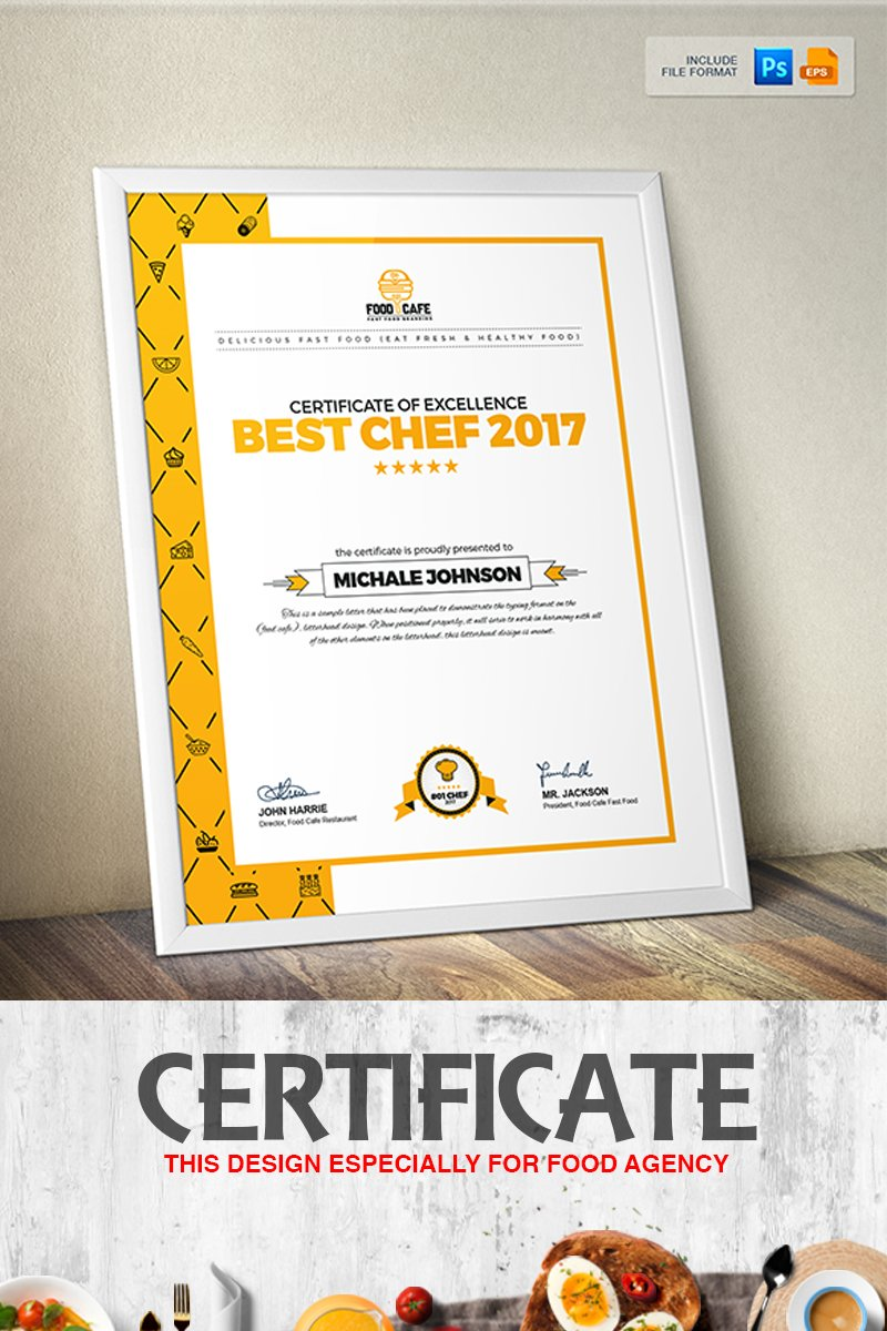 Certificate Design Template for Best Chef Fast Food and ...