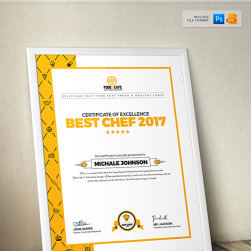 certificate design template for best chef fast food and restaurant
