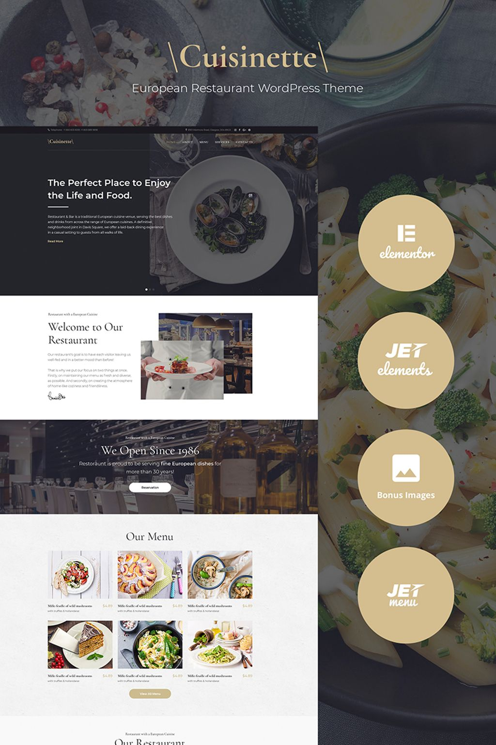 """Cuisinette - European Restaurant Cross-browser"" - WordPress шаблон №67130"