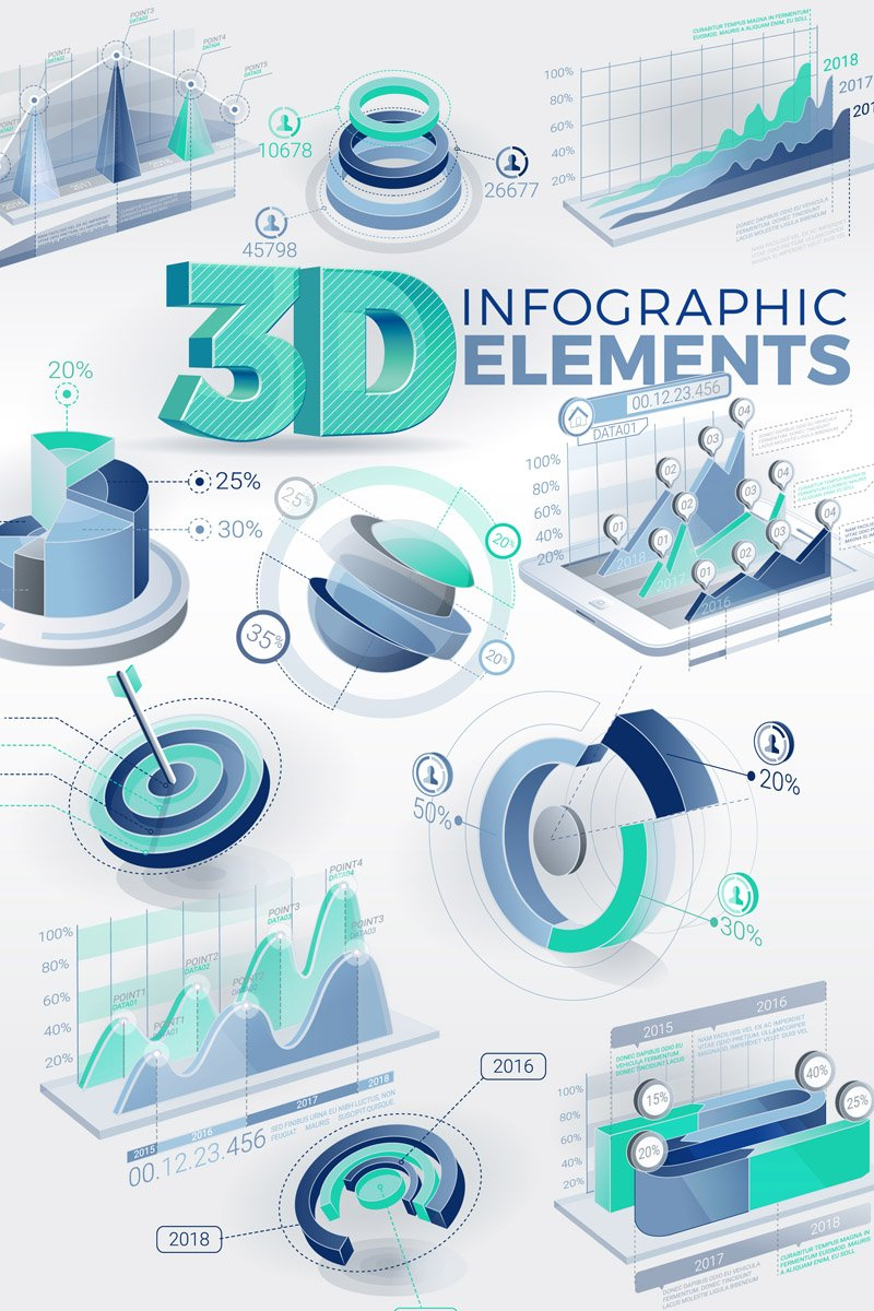 """""""3D Infographic Elements"""" After Effects 屏保 #67178"""