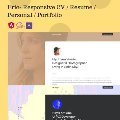 artist portfolio responsive website template - Cv Resume Web Template