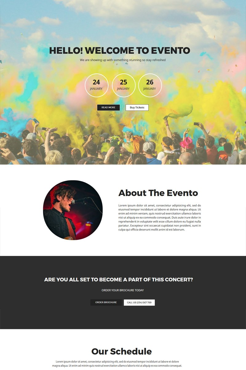 """Evento - Concert Events"" Responsive Unbounce Template №67138"